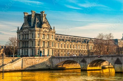 Louvre Museum and Pont des arts, Paris - France Wallpaper Mural