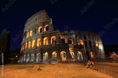 Colosseum at night, Rome, Italy Canvas Print