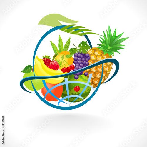 Foto op Canvas Vogels in kooien Sweet and Juicy Fresh Fruit Basket