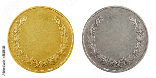Fotomural Old blank gold and silver coins