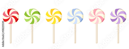 Fotografie, Obraz Six colorful lollipops. Vector illustration.