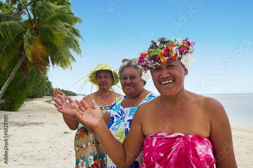 Fotografiet  Portrait of Polynesian Pacific Island Tahitian mature woman Aitu