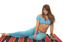 Princess In Blue On A Carpet S...