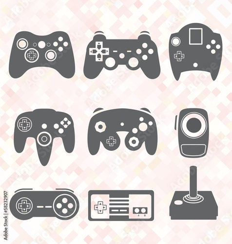 Vector Set: Video Game Controller Silhouettes Poster