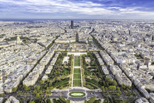 Fotografia  Aerial View on Champ de Mars and Invalides in Paris