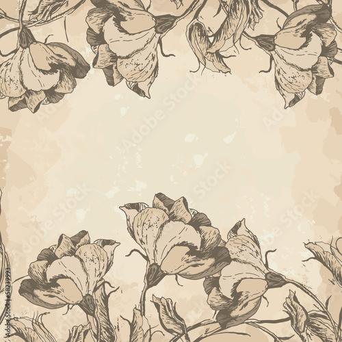Papiers peints Affiche vintage Retro floral border