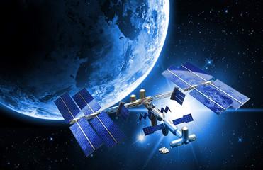 Fototapeta satelitarna stacja kosmiczna