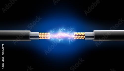 Zwei Kabel mit Funkenschlag Fototapete