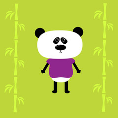 FototapetaCartoon panda boy and bamboo. Card