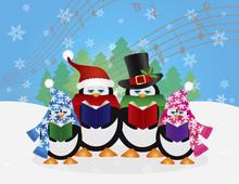 Penguins Christmas Carolers Snow Scene Vector Illustration