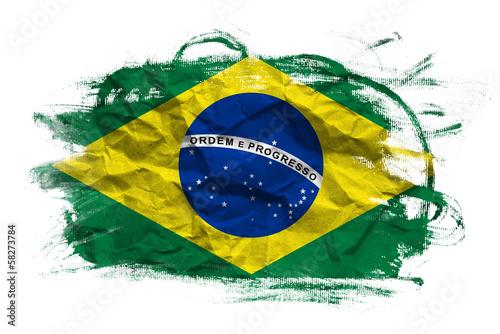 Fotografie, Obraz  Brasil flag over grunge texture