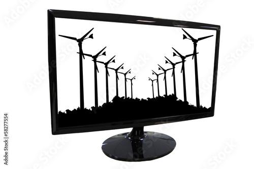 Foto auf AluDibond Vogel in Kafigen Silhouette Wind turbines in Frame LED computer screen.
