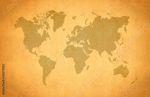 Foto op Aluminium World Map, World background on grunge paper