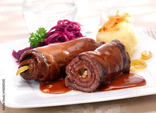 Fototapeta  Rolled beef roulades