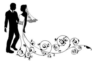 Naklejka Wedding couple bride and groom silhouette