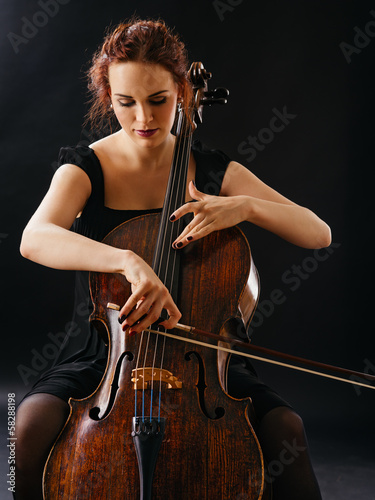 Stampa su Tela Beautiful female playing the cello