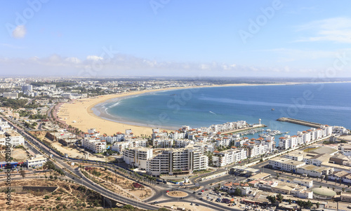 Morocco, view of the beach and the marina in Agdir