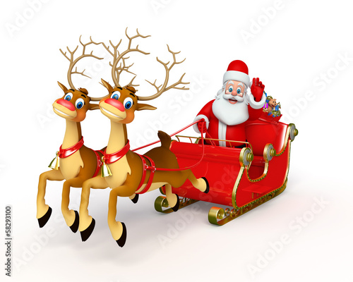 Fototapety, obrazy: Santa claus with his sleigh