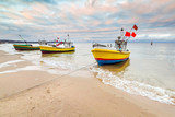 Fishing boats on the beach of Baltic Sea in Poland - 58296358