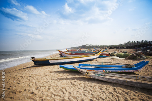 Fishing boats on the beach, Pondicherry, India Canvas Print