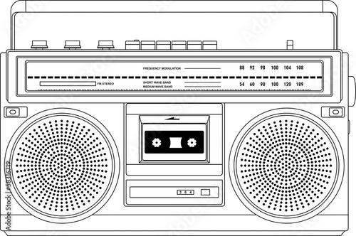 Vintage cassette recorder, ghetto blaster or boombox. vector Canvas Print