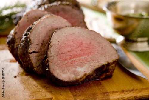 Fotografie, Obraz  Closeup of sliced tenderloin roast beef.