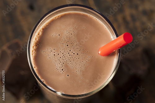 Spoed Foto op Canvas Milkshake Refreshing Delicious Chocolate Milk
