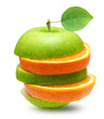 Green apples and orange slices fruit isolated