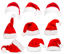 Collection Of Red Santa Hats. ...