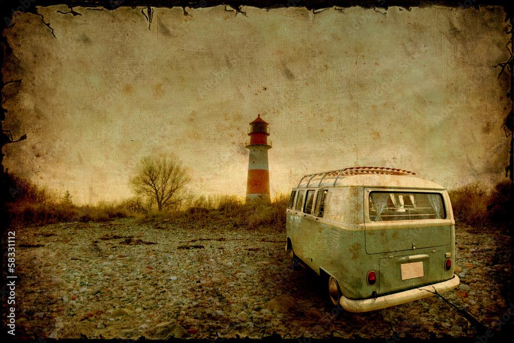 Fotografie, Obraz Retrobulli am Leuchtturm