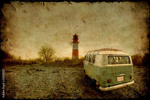 Fototapeta Retrobulli am Leuchtturm