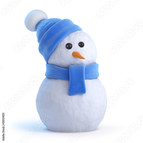Fotografie, Obraz  Snowman waits for Christmas
