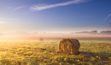 Morning Meadow Landscape With Hay Bales