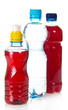 Two bottles with juce and water