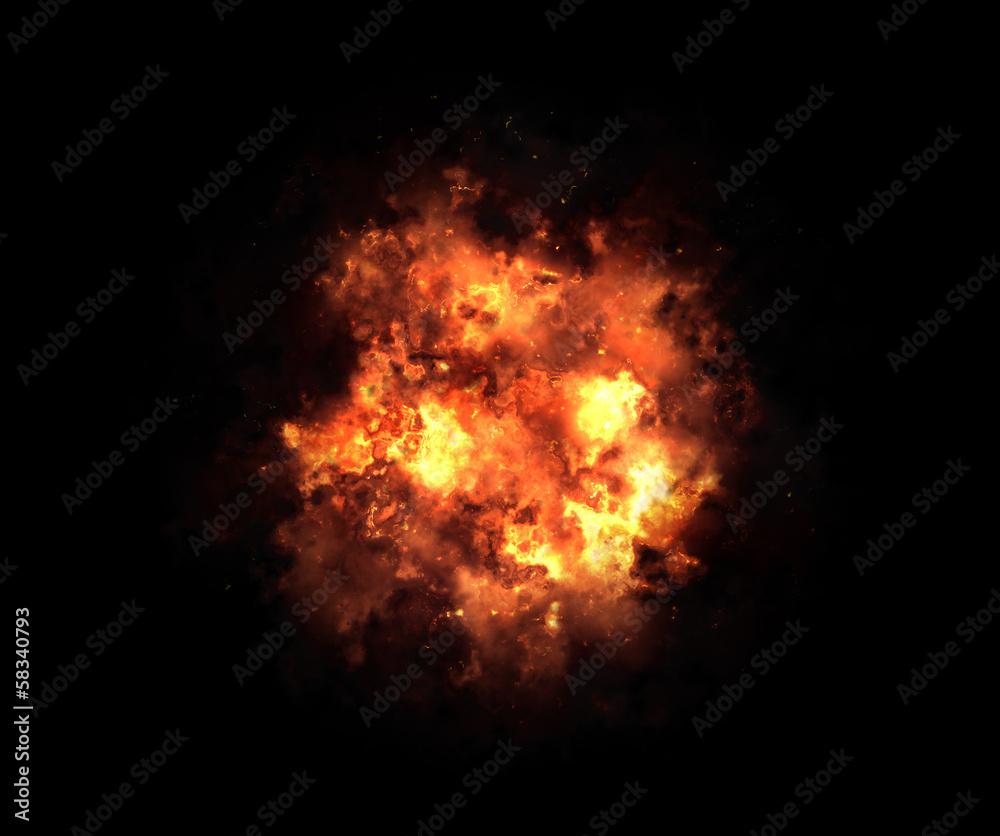 Fototapety, obrazy: bright explosion flash on a black backgrounds. fire burst