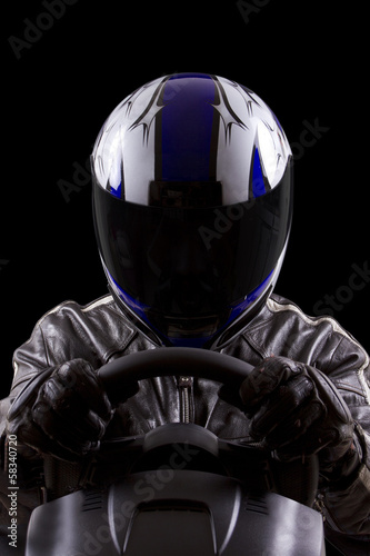 Fotografie, Obraz  race car driver wearing protective leather and helmet