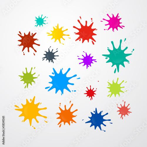 Tuinposter Vormen Colorful Vector Stains, Splashes Set