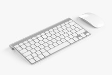 Wireless Computer Keyboard And Mouse Isolated On White Backgroun