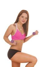 Woman Pink Bra Fitness Knee Curl