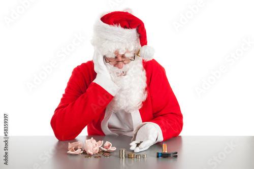 Photo  Santa counting coins