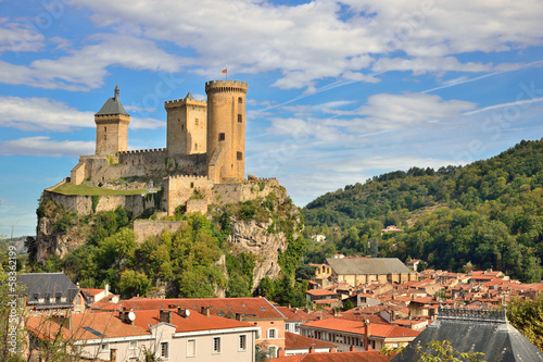 Aluminium Prints Castle Foix castle dominating the city
