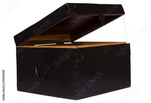Close-up of an open wooden trunk - Buy this stock photo and explore