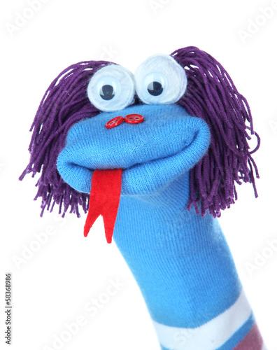 Cuadros en Lienzo Cute sock puppet isolated on white