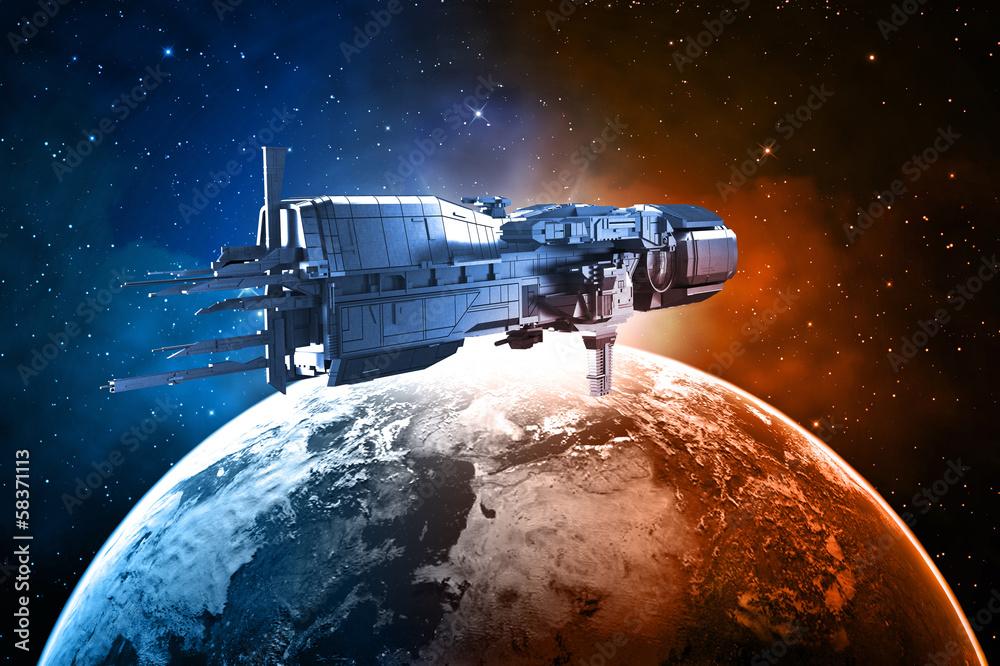 Fototapety, obrazy: Statek kosmiczny z planetą Ziemią
