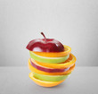 Fruits apple Lemon and orange