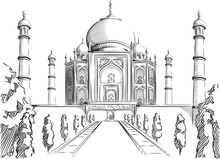 Sketch Of India Landmark, Taj Mahal