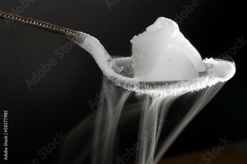 Dry Ice on Metal Spoon (Frozen Carbon Dioxide)
