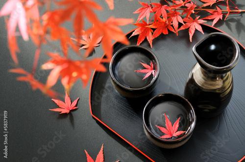 Fotografie, Obraz  お酒と紅葉