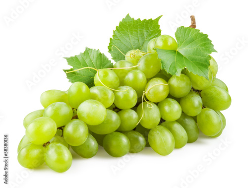 Photo  Fresh green grapes with leaves. Isolated on white