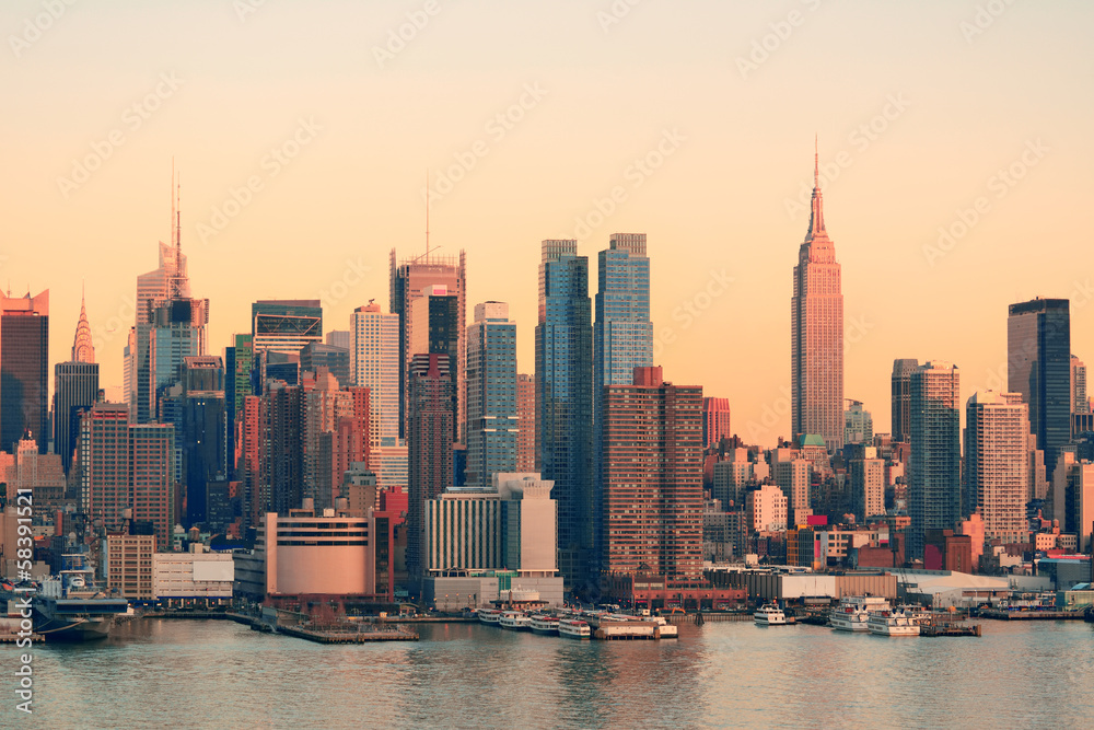 Fototapety, obrazy: New York City sunset